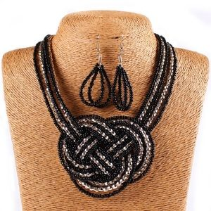 Jewelry - NEW! Black & Gold Beaded Necklace Earring Set